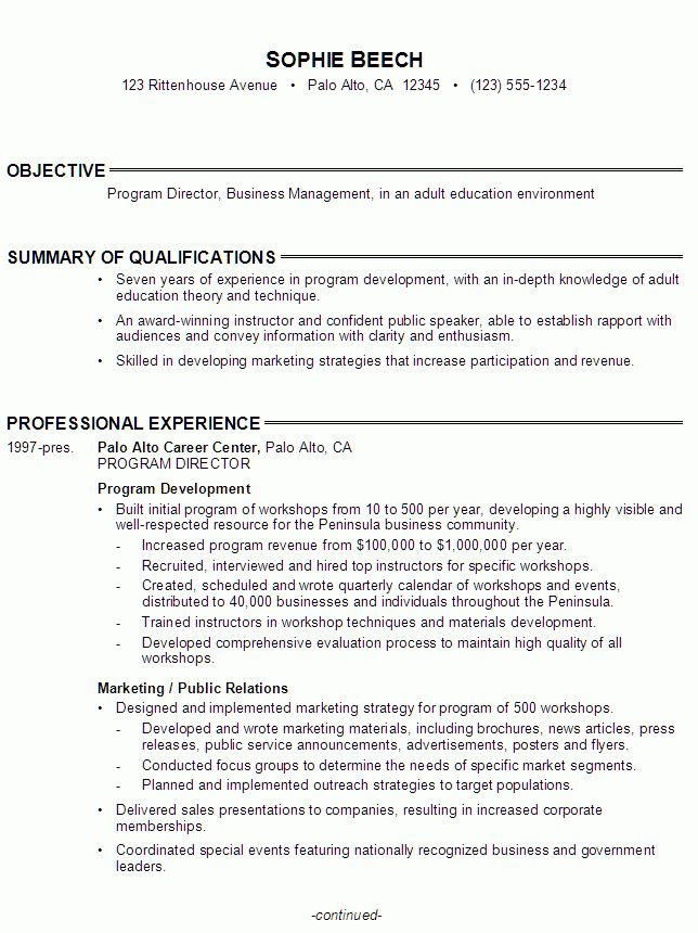 Resume for a Program Director, Adult Education - Susan Ireland Resumes