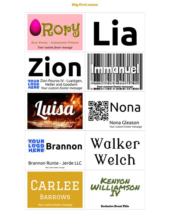 Avery 74558 Name Badge Inserts Compatible Template | Big.first.name