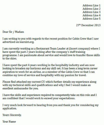 cabin crew cover letter sample. brilliant ideas of sample cover ...