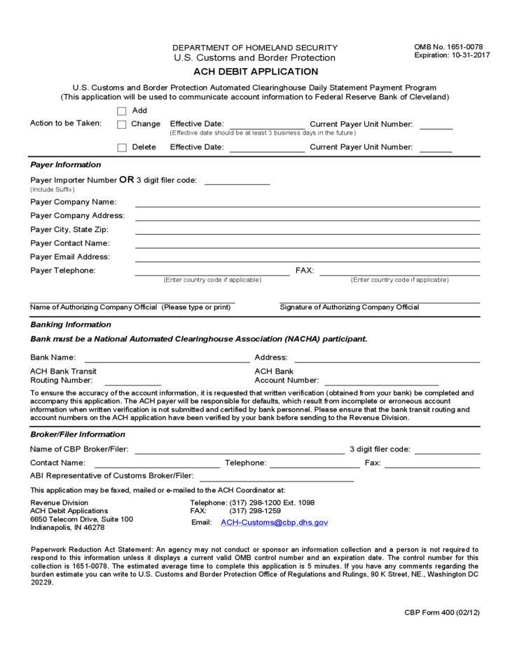 CBP Form 400 - ACH Debit Application Free Download
