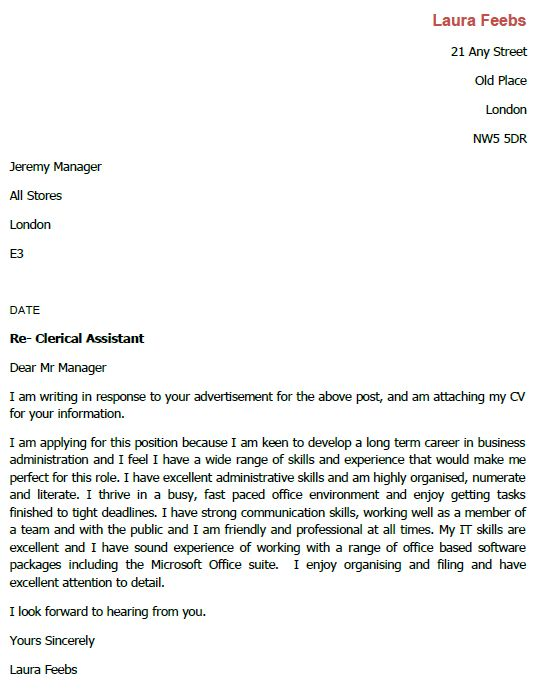 Job Application Letter for Clerical Assistant - lettercv.com