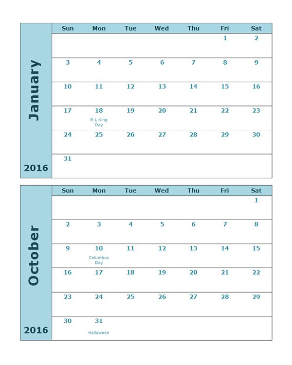 2016 Monthly Calendar Template 11 - Free Printable Templates