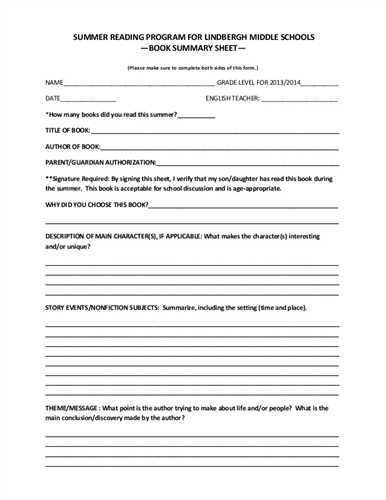 Printable book report forms middle school | Examples of literary ...