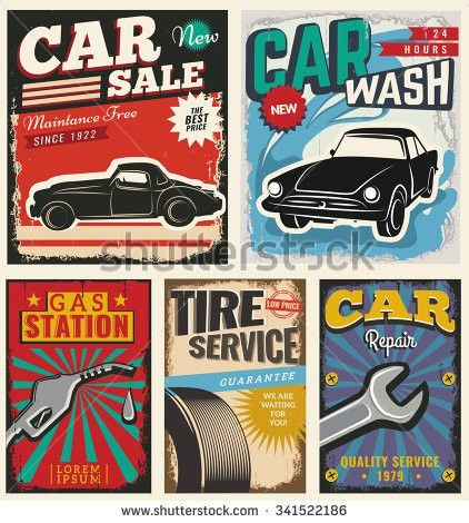Vintage Retro Stile Set Vector Cars Stock Vector 341522186 ...