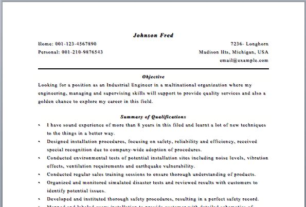 Industrial Engineer Sample Resume - Gallery Creawizard.com