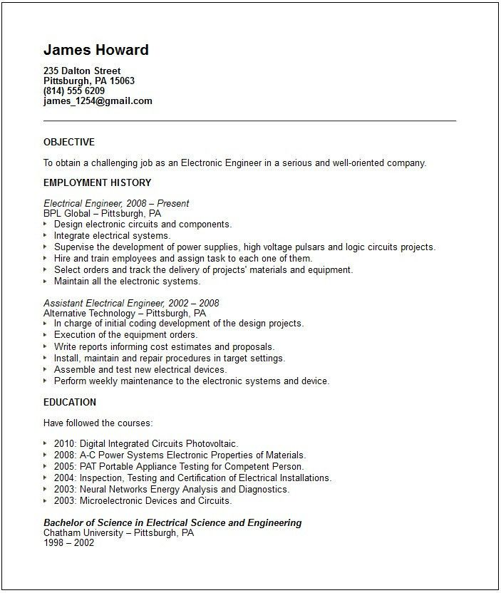 Download Electrical Test Engineer Sample Resume ...