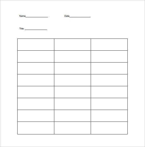 T Chart Template – 13+ Free Sample, Example, Format Download ...