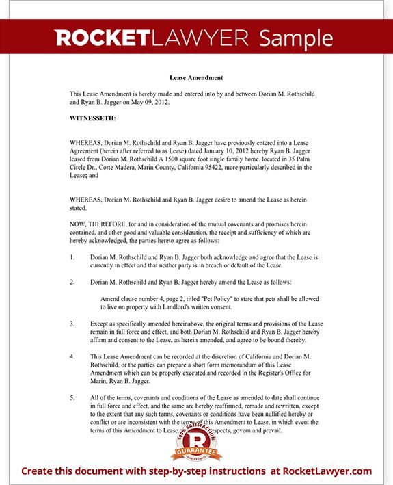 Lease Amendment - Amendment to Lease (Form With Sample)