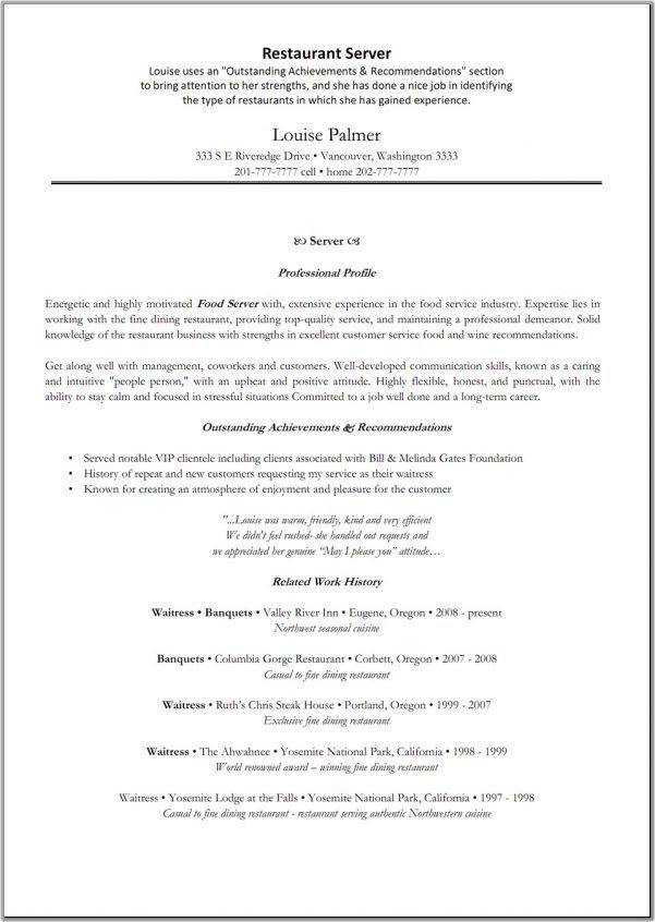 server resumes templates free cocktail server resume template