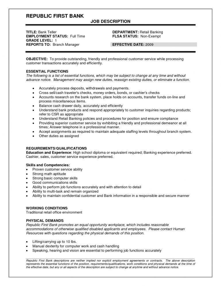 Teller Job Description. Photo Description Example Bank-Teller ...