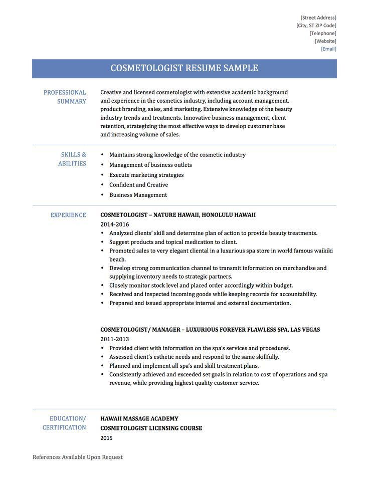Cosmetologist Resume Examples. Free Cosmetology Resume Builder ...