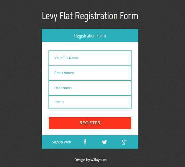 registration form template html css