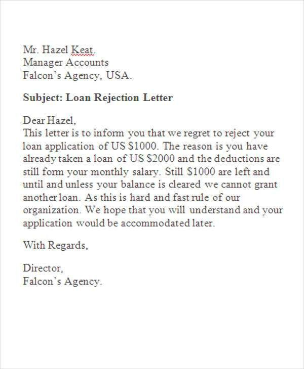 Loan Rejection Letters - 7+ Free Sample, Example Format Download ...