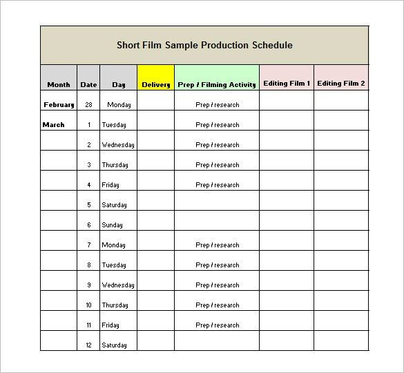 Production Schedule Template – 8+ Free Word, Excel, PDF Format ...