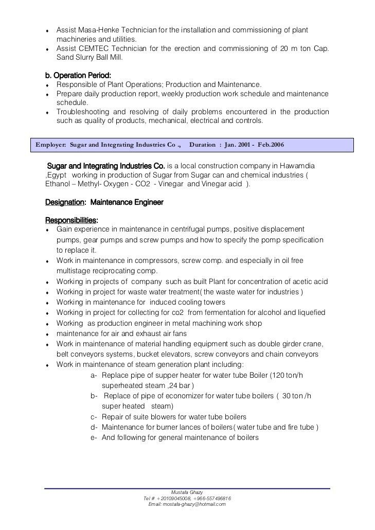 Download Mechanical Site Engineer Sample Resume ...