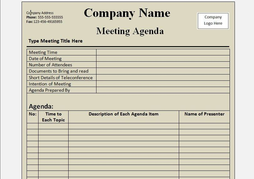 Classic Meeting Agenda Template Word Format : Helloalive