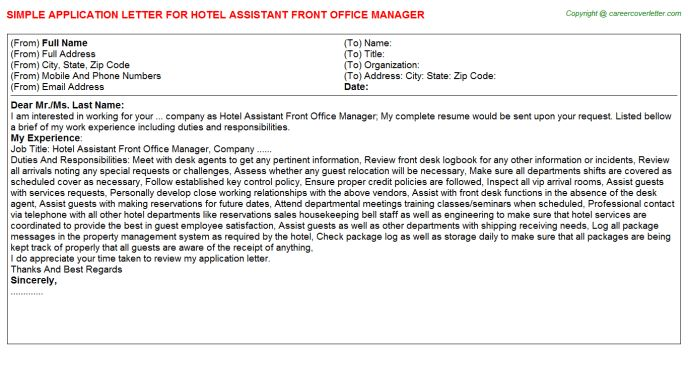 Hotel Assistant Front Office Manager Job Title Docs