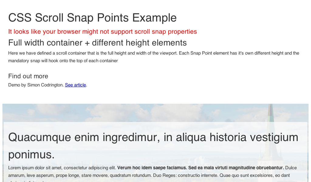 CSS Scroll Snap Points Example