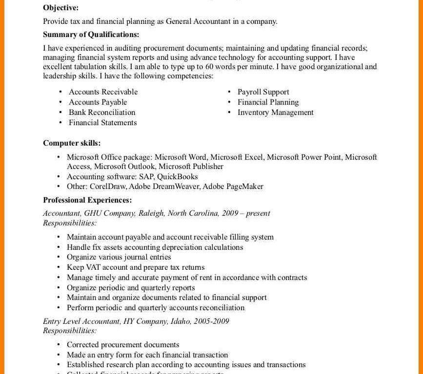 Good General Objective For Resume [Nfgaccountability.com ]