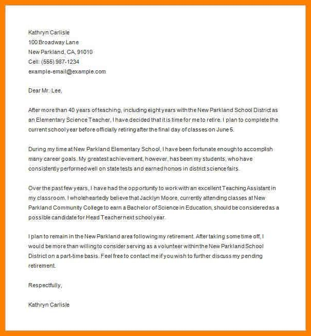 examples of letter of resignation for teachers resume examples of ...