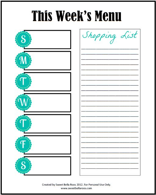 Free Menu Planner Printable | Meal planner printable, Weekly meal ...