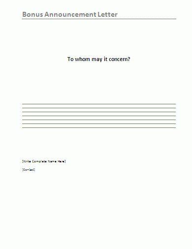 Bonus Announcement Letter Sample | Free Word Templates