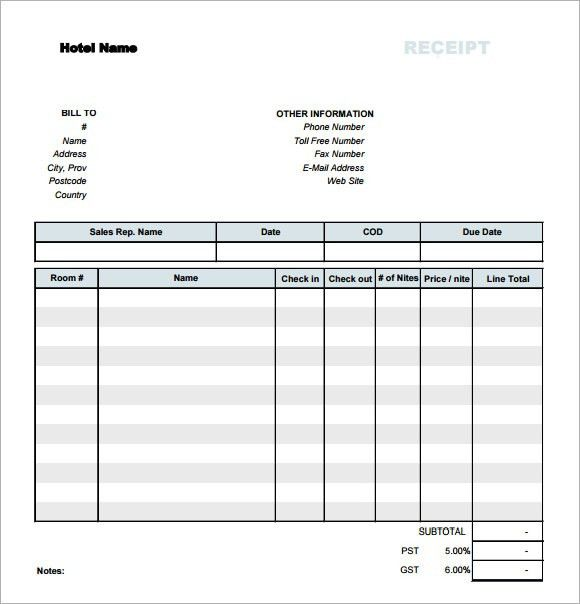 Sample Receipt Template - 7 Free Download for PDF