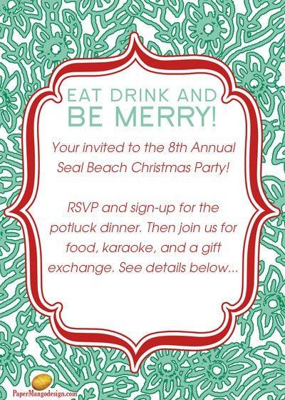 Magnificent Christmas Potluck Invitation Template Free ...