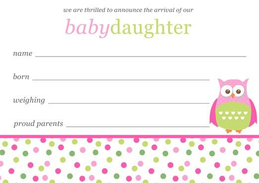 Baby Girl Birth Announcements Template Free Download -