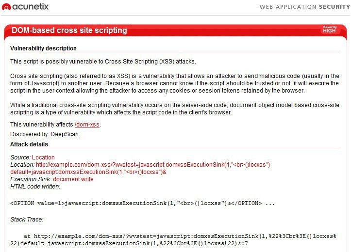 Finding the Source of a DOM-based XSS Vulnerability with Acunetix ...