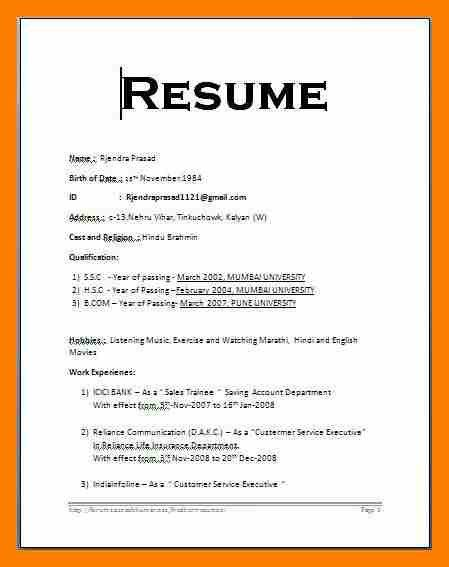 resume examples cover letter resume format for freshers latest doc ...