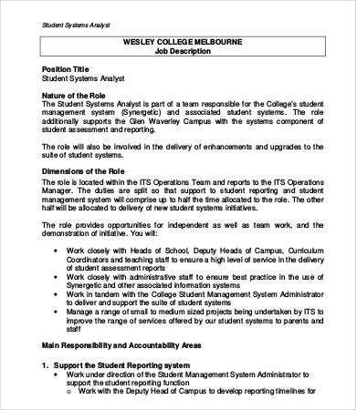 System Analyst Job Description - 9+ Free PDF, Word Documents ...