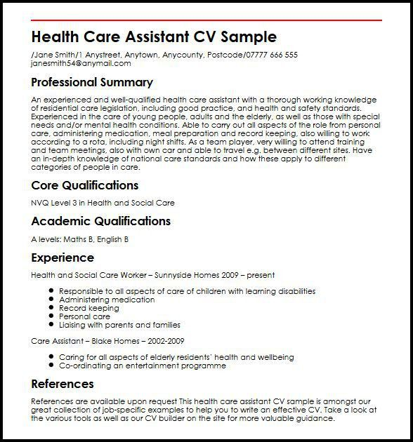 Health Care Assistant CV Sample | MyperfectCV