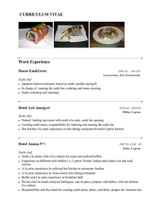 resume of a chef sample chef resume chefs resume chef resume