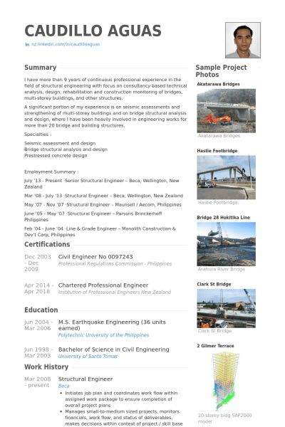 Structural Engineer Resume samples - VisualCV resume samples database