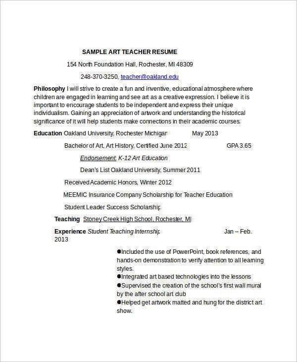 art teacher resume art teacher resume example template sample