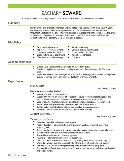 Sales Manager CV Example for Sales | LiveCareer