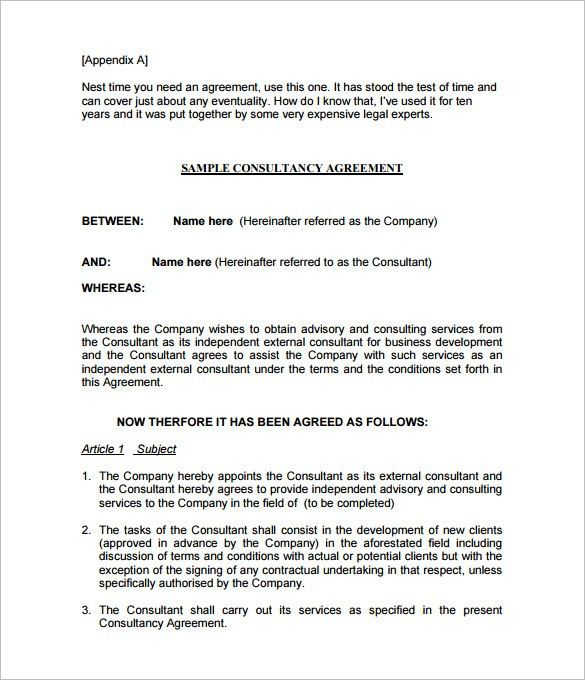 Sample Consulting Contract Template. Consulting Contract Template ...