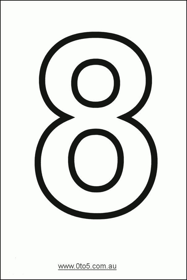Number - eight printable template   NÚMERO 8 GRAFÍA Y CANTIDAD ETC ...