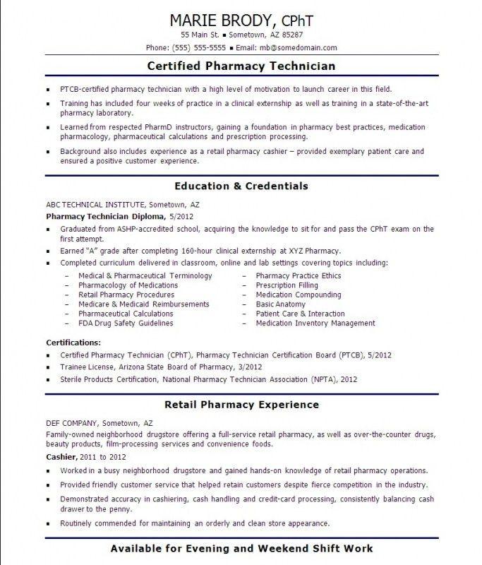Pharmacy Technician Resume Sample No Experience – Resume Examples