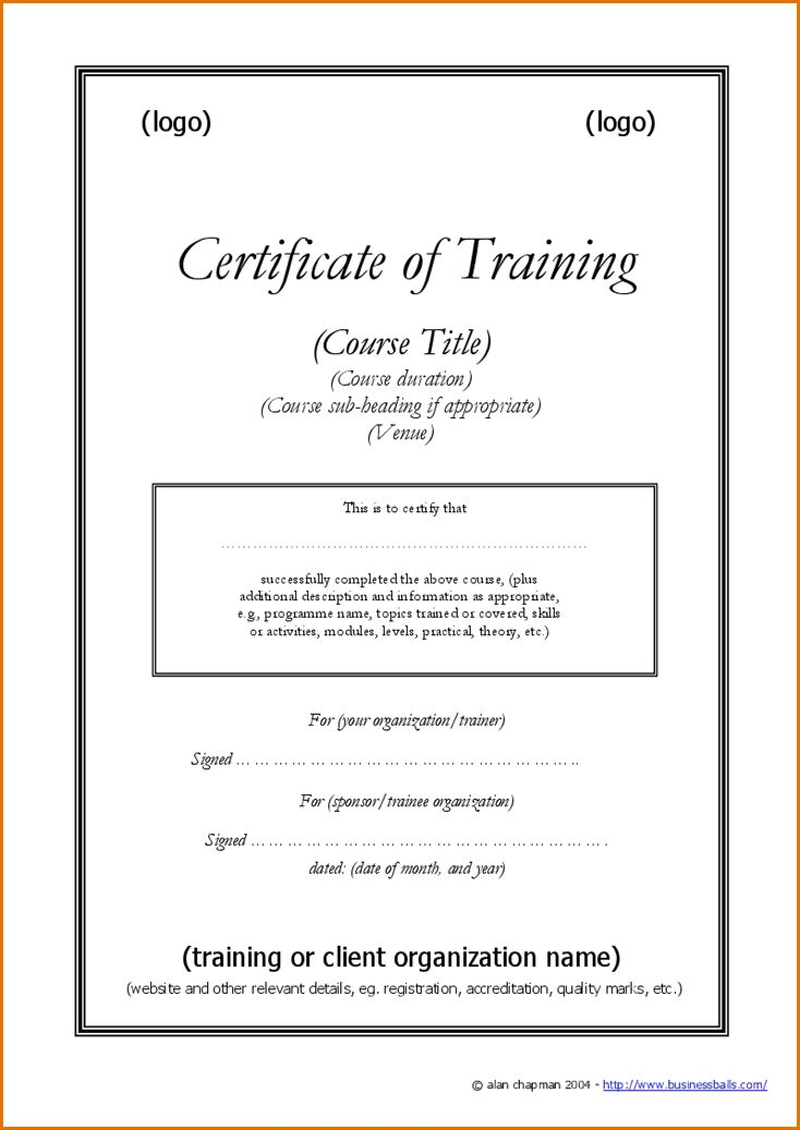 7+ certificate of training template | Job Resumes Word