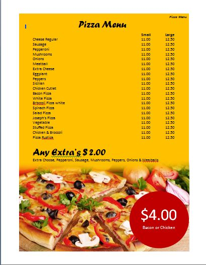Pizza Menu Template | Microsoft Word Templates