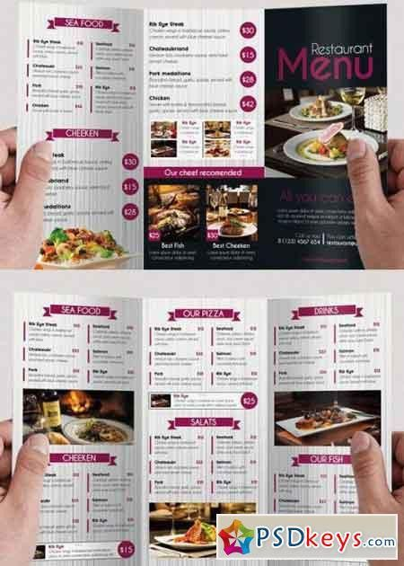 Restaurant Menu PSD Tri-Fold PSD Brochure Template » Free Download ...