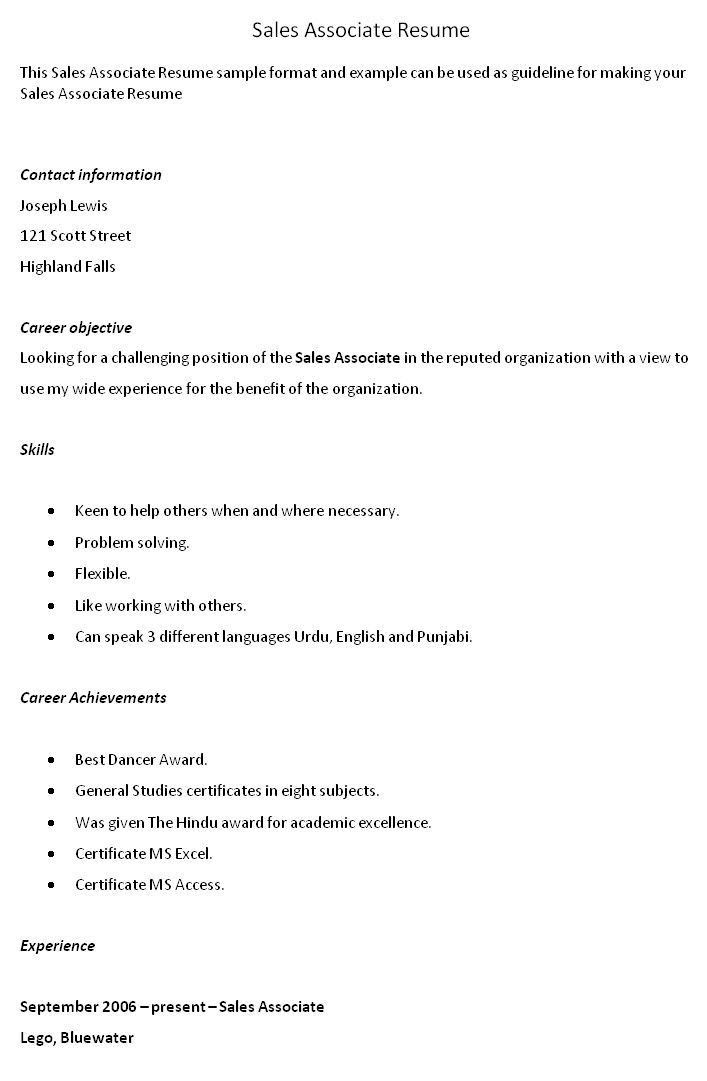 Sales Associate Resume Examples. Create My Resume Simple Sales ...
