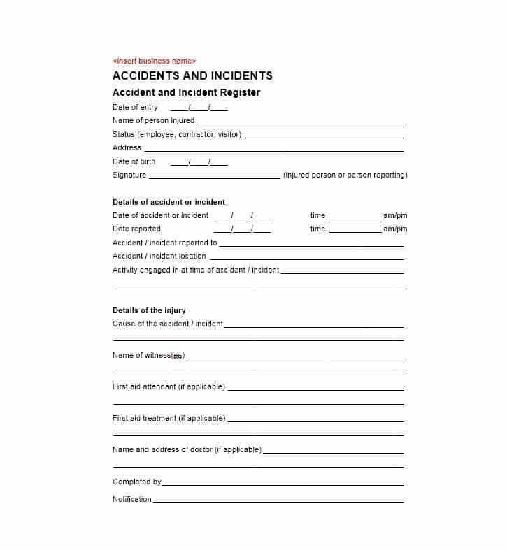 Accident Report Form Template - Contegri.com