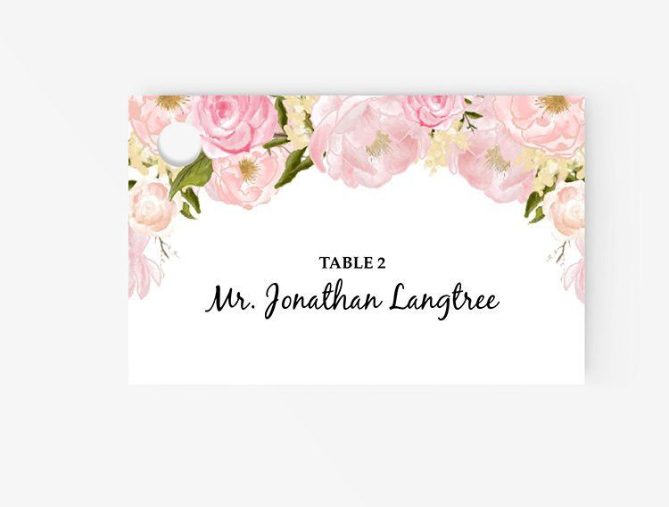 Printable Place Card Template Editable Escort Word Tent Card