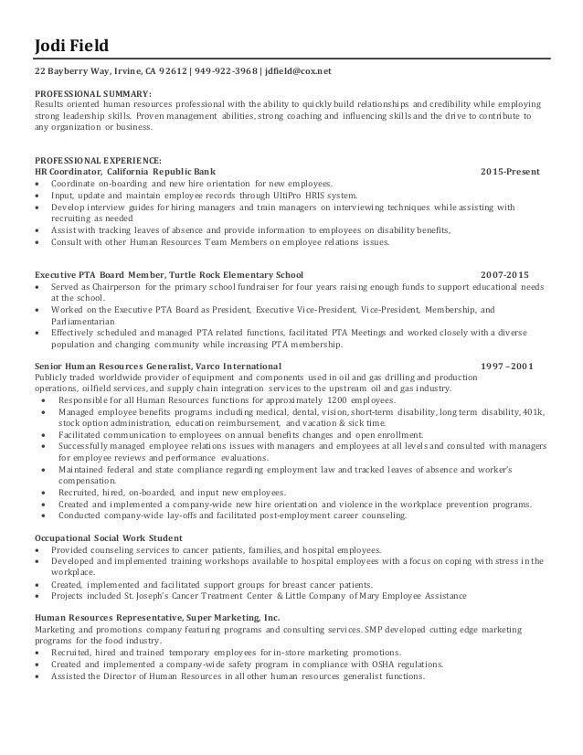 Jodi field Human Resources Resume