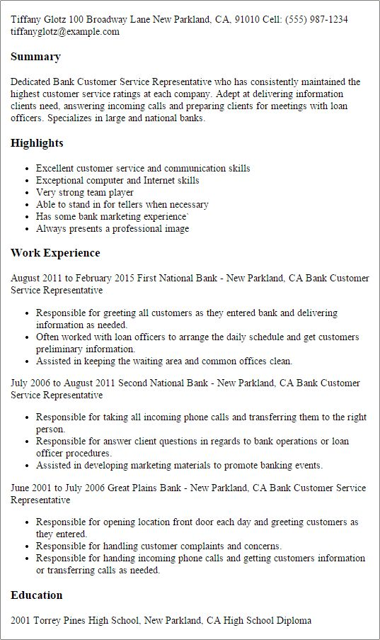Banking Customer Service Sample Resume | haadyaooverbayresort.com