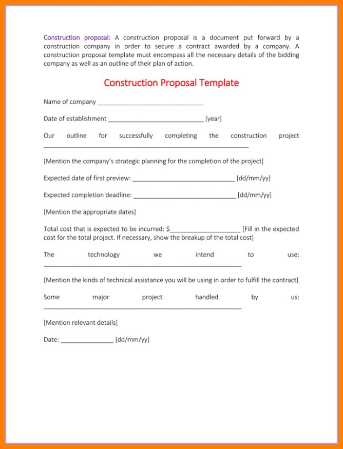 9+ bid proposal construction proposal template | farmer resume