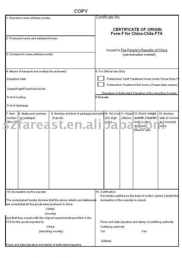 Certificate Of Origin Template. Partial View Of The Nafta ...